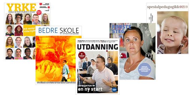 Bilde av forsiden på ulike fagblader