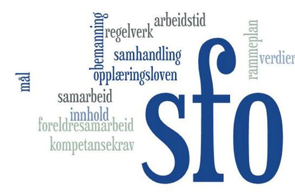Ordsky med ulike begrep som hører til SFO:  bemanning - samarbeid - innhold - arbeidstid - rammeplan - verdier - foreldresamarbeid - kompetansekrav - mål - samhandling - opplæringsloven - regelverk