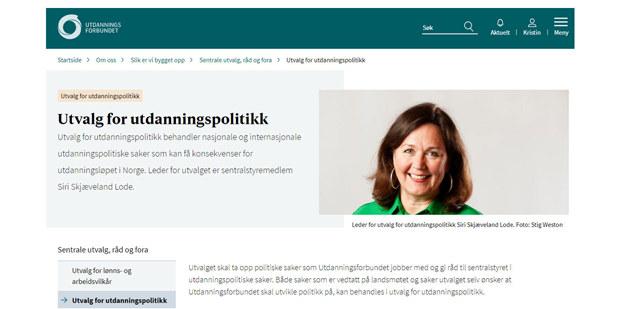 Utvalg for utdanningspolitikk forsiden, nettsider, udf.no