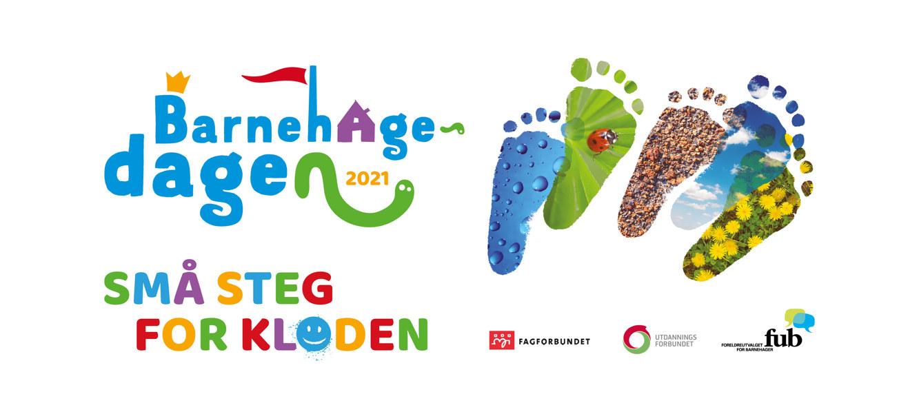 """Logo Barnehagedagen med teksten """"Små steg for kloden"""""""