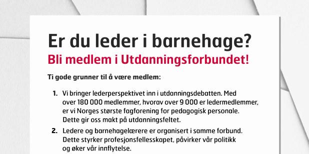 Er du leder i barnehage? Plakat bokmål