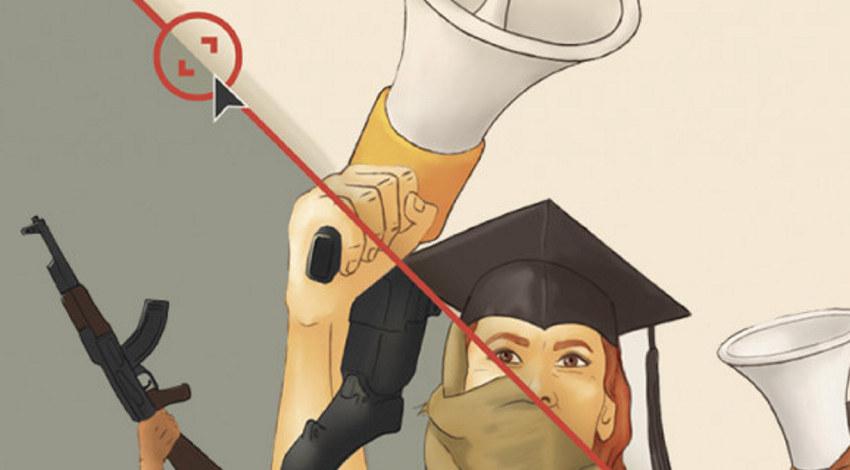Banner fra SAIHs kampanje i forbindelse med rapporten: Students by day, rebels by night? Viser studenter som holder opp megafoner på halve bildet, og der de vises med våpen i hånd og framstilles som farlige på andre halvdel