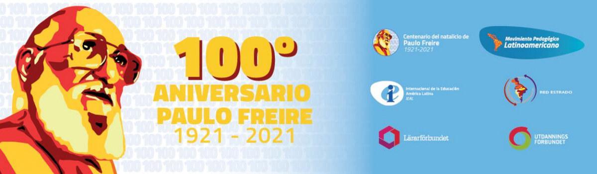 Header/bilde med en tegning av hodet til Paulo Freire, samt info og logo til de som samarbeider om å markere 100-årsmarkeringen for hans fødsel.