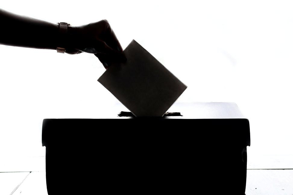 Hånd som putter stemmeseddel ned i en boks