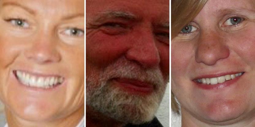 bilde satt sammen av tre portretter av smilende mennesker, en kvinne på hver side og en mann i midten. gjester i podkasten Lærerrommet