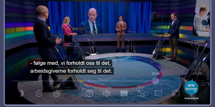 Digital faksimile fra NRK-programmet Debatten 16. mars 2021. Steffen Handal er gjest i studio for å snakke om resultatet av lønnsoppgjøret 2020 og lønnsoppgjøret som kommer i 2021.