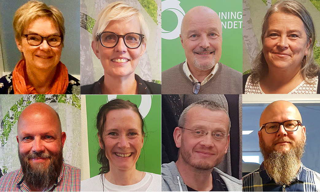 Collage av portrettbilder av Gry Rollag Føsker, Torill Beitdokken, Geir Moen, Bente Kampesveen, Aslak Stensrud, Jill Johansen, Lars Frode Finstad og Thore Johan Nærbøe