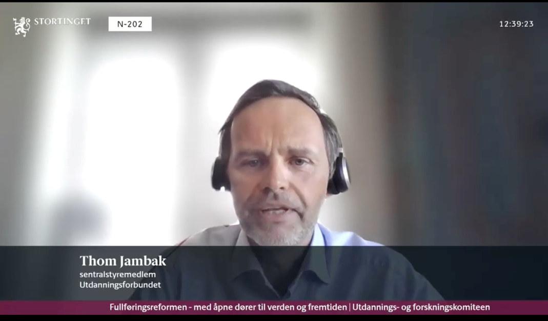 Skjermbilde av Thom Jambak fra den digitale stortingshøringen om Fullføringsreformen
