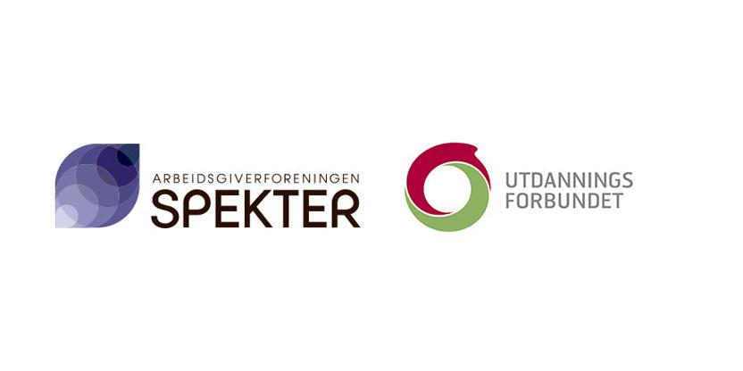 Logo for Spekter og logo for Utdanningsforbundet, i samme bilde.