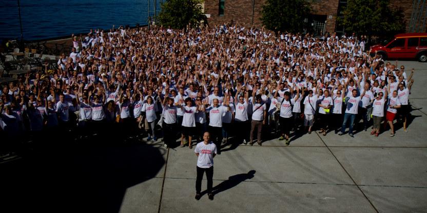 Steffen Handal i Bergen med 1088 streikende bergenslærere i ryggen, streik, demonstrasjon, tariffoppgjør, lønnsoppgjør, arbeidstid (2014)