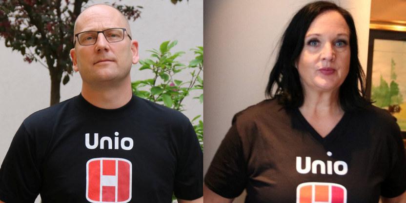 Steffen Handal, forhandlingsleder i Unio kommune og Aina Skjefstad Andersen, forhandlingsleder i Unio Oslo kommune.