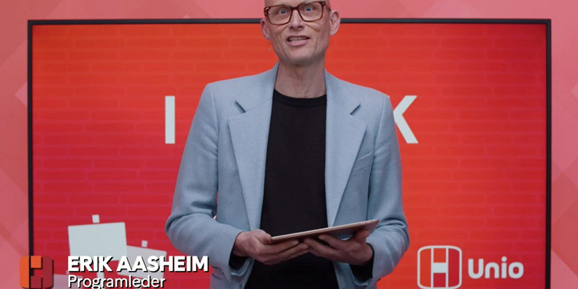 Erik Aasheim fra Unios første digitale streikemarkering.
