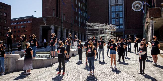 Streikemarkering ved Oslo rådhus 28. mai 2021. Unio Oslo