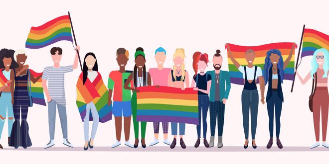 En gjeng blide og fargerike mennesker smiler står og vinker med regnbueflagget.