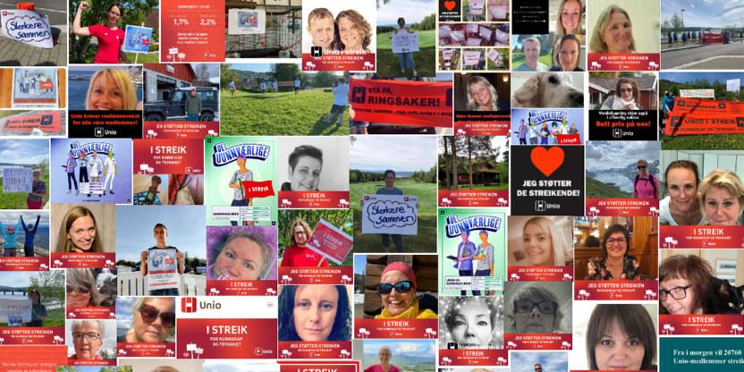 Bilde satt sammen av mange bilder fra Facebook, collage med personer som støtter streiken med plakater og Facebook-rammer
