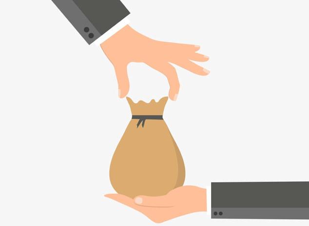 Illustrasjon av hånd som legger pose med trolig penger i en annen hånd.