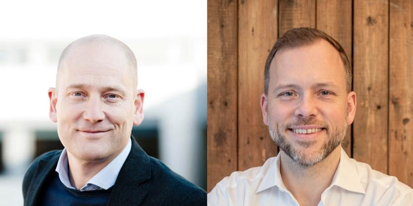 Et bilde satt sammen av et portrettbilde av Steffen Handal og et av  Audun Lysbakken.  Begge smiler.