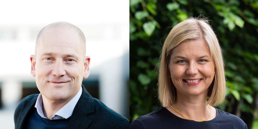 Et bilde satt sammen av et portrettbilde av Steffen Handal og et av Guri Melby. Begge smiler.