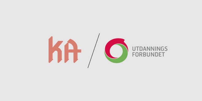 Logo for Utdanningsforbundet og logo for KA.