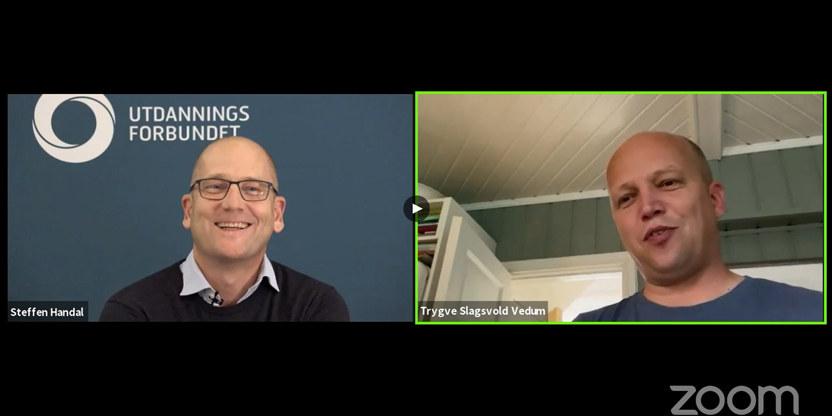 Bilde fra Zoommøte med Steffen Handal og Trygve Slagsvold Vedum. Begge smiler.