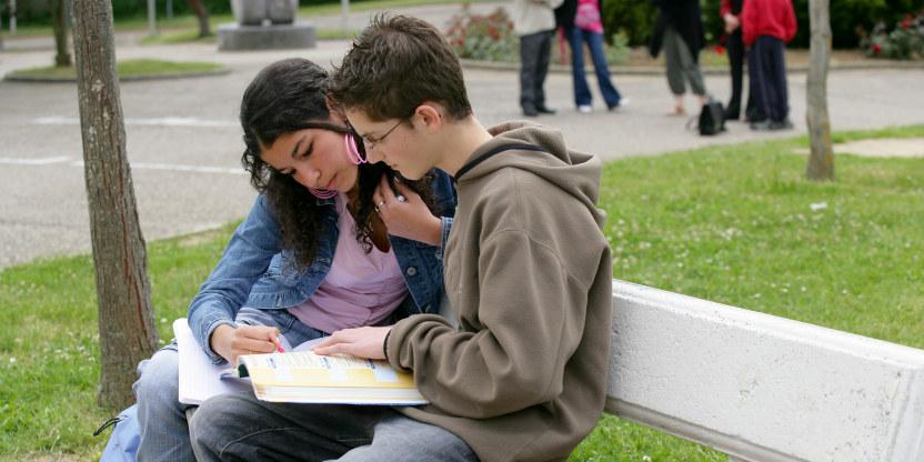 skoleelever, en jente og en gutt, som ser i en bok sammen