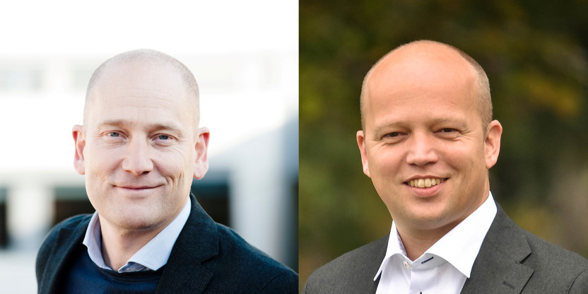 Bildet er satt sammen av et portrett av Steffen Handal og et av Trygve Slagsvold Vedum. Begge smiler til kameraet.